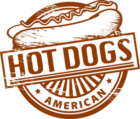 Grunge rubber stamp, with the text Hot Dogs inside, vector