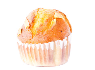 freshly mixed muffin on the white background