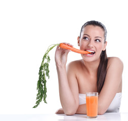 Woman with the carrots juice
