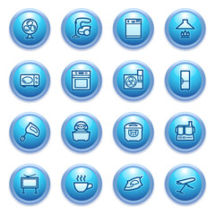 Home appliances  icons on blue buttons.