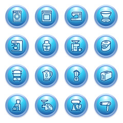 Home appliances icons on blue buttons, set 2.