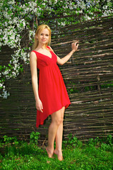 Young beautiful blonde woman in a red dress
