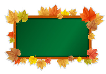 Vector illustration of wooden blackboard with leaves