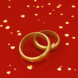Golden wedding rings and hearts