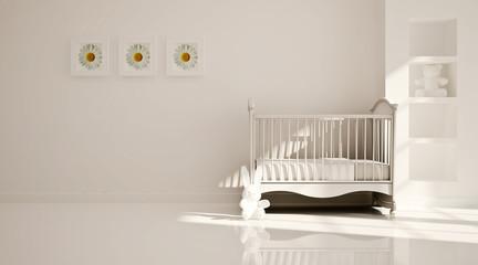 Interior of nursery. B&W