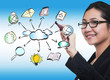business woman drawing cloud network sharing