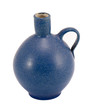 Blue ceramic jug vase handle isolated on white