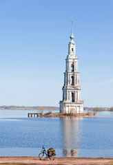 The flooded belltower on river Volga, Kalyazin, Russia