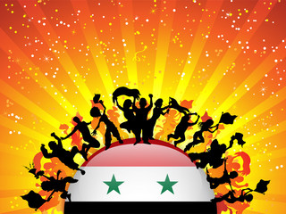 Syria Sport Fan Crowd with Flag