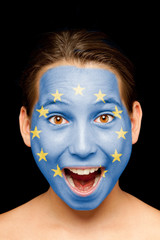 girl with european flag on her face