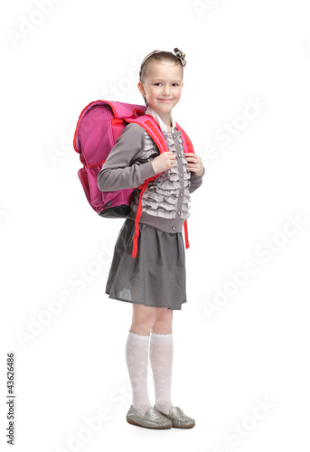 Self-disciplined pupil is ready to go to school, isolated Poster