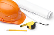 Orange hard hat, druft, pencil and tape measure