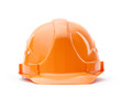 Orange fronted hard hat, isolated on white