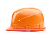 Orange hard hat in profile, isolated on white