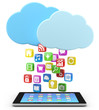 digital tablet pc with app icons and cloud