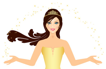 Vector illustration of beautiful Princess in gold