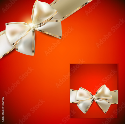 Elegant red background and Gift Card with ribbons. In a same sty