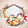 Holiday banner with shells and starfishes and place for text. Re