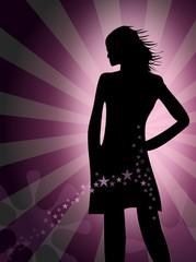Silhouette einer jungen Frau - Party - Disko