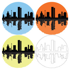 silhouette of the city on a colored background