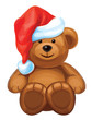 Vector of fun brown bear in red Santa's hat