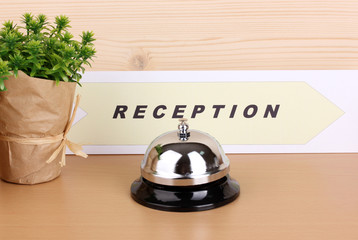 Hotel reception isolated on white