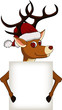 funny christmas deer cartoon with blank sign