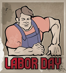 Huge workman poster with Labor Day typography
