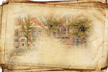 views of Dutch city of Delft in vintage stule, like postcard