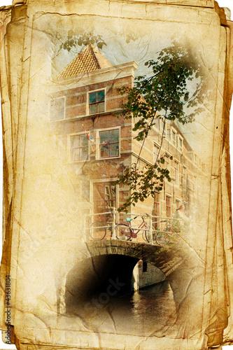 Poglądy holenderskim mieście Delft w stule zabytkowe, jak pocztówka