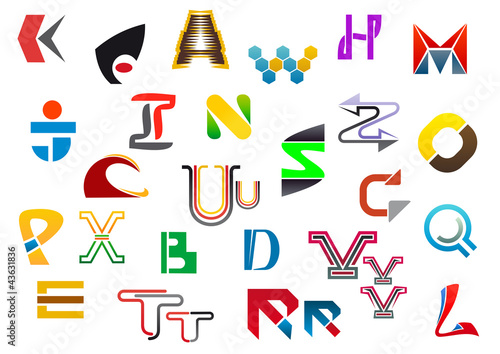 Colorful letter symbols and icons