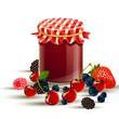 Vector  wild berries and wildberry jam