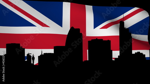 London skyline with fluttering British flag animation