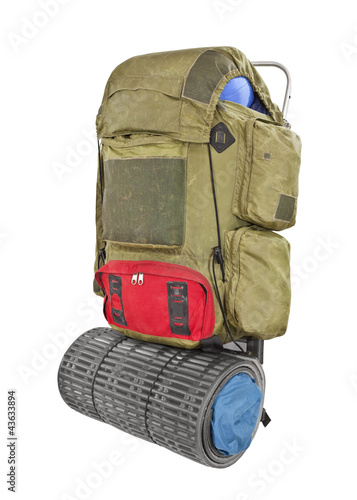 Vintage Grungy Backpack Isolated with Clipping Path