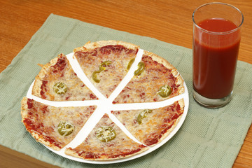 Tortilla Pizza and Juice