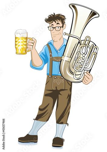 Musiker mit Tuba und Bierkrug