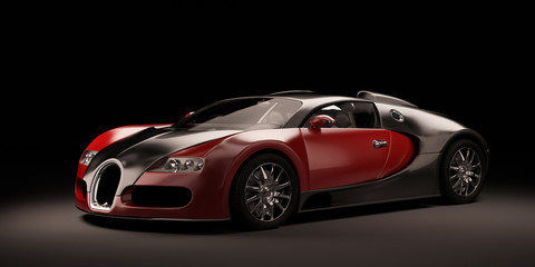 Super sport car black and red