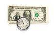 Dollar banknotes and stopwatch