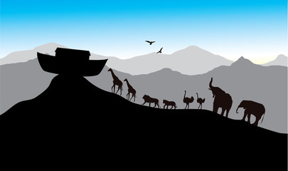 Noah's Ark, bible stories, vector image, each pair of creatures