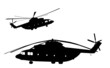 Detailed helicopter silhouettes