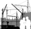 builders and cranes silhouettes illustration