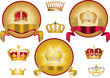 set of isolated gold crowns