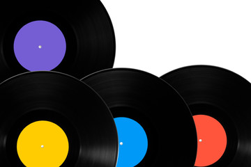 Vinyl records with different colored labels