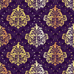 Gold and purple seamless Rococo floral