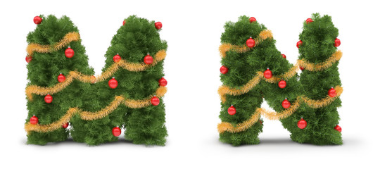M and N letters - christmas tree collection