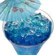 Blue Curacao cocktail with ice and umbrella