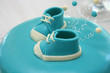 blue baby cake with shoes
