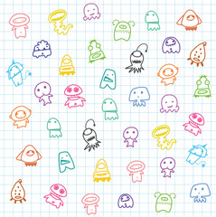 cute catoon Aliens,background for children