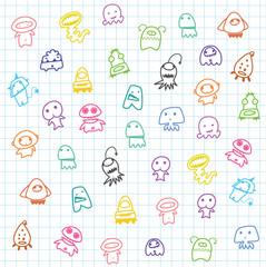 cute catoon Aliens,background for children