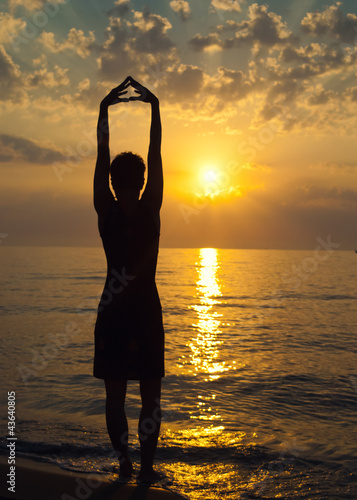 Sunset, woman silhouette